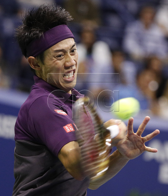 Kei Nishikori of Japan hits a return to Novak Djokovic of Serbia during their semi-final match on the twelfth day of the US Open Tennis Championships the USTA National Tennis Center in Flushing Meadows, New York, USA, 07 September 2018. The US Open runs from 27 August through 09 September. EPA-EFE/JUSTIN LANE