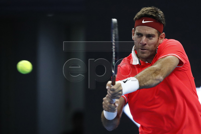 Juan Martin Del Potro of Argentina in action during the men's singles final match against Nikoloz Basilashvili of Georgia at the China Open tennis tournament in Beijing, China, 07 October 2018. EPA-EFE/WU HONG