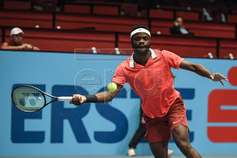 Frances Tiafoe of the US in action during his first round match against Kei Nishikori of Japan at the Erste Bank Open ATP tennis tournament in Vienna, Austria, 23 October 2018. EPA-EFE/CHRISTIAN BRUNA