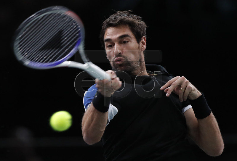 Jeremy Chardy of France returns the ball to Fernando Verdasco of Spain during their first round match at the Rolex Paris Masters tennis tournament in Paris, France, 30 0ctober 2018. EPA-EFE/IAN LANGSDON