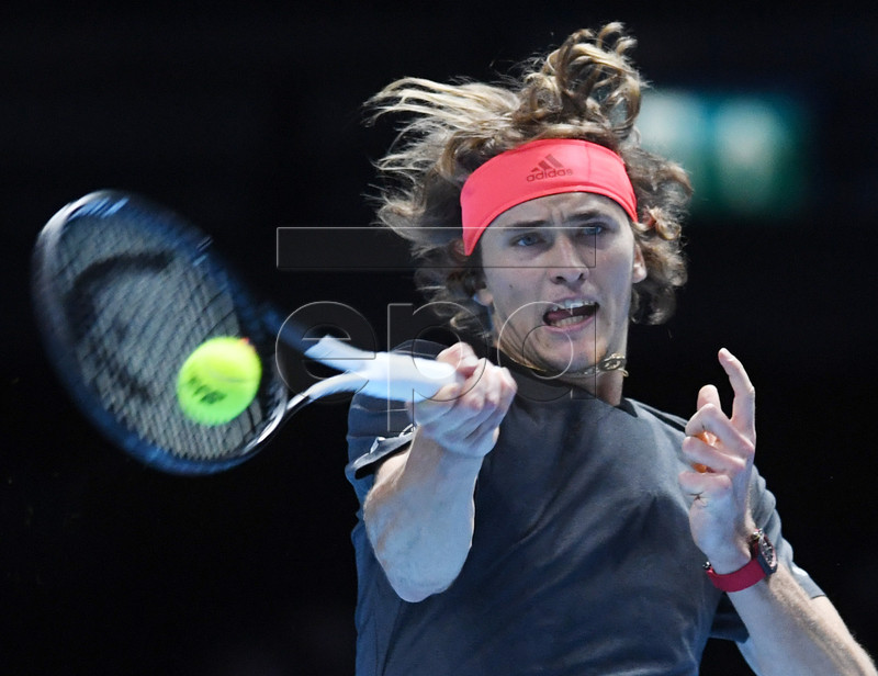 Germany's Alexander Zverev in action against Croatia's Marin Cilic during their Men's Singles Round Robin match at the ATP World Tour Finals tennis tournament at the O2 Arena in London, Britain, 12 November 2018. EPA-EFE/FACUNDO ARRIZABALAGA