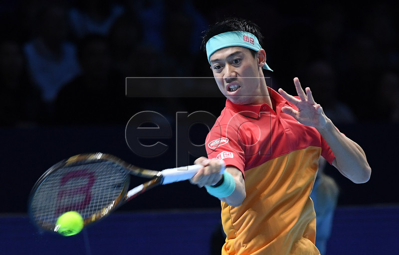 Japan's Kei Nishikori in action during his round robin match against Kevin Anderson of South Africa at the ATP Finals tennis tournament in London, Britain, 13 November 2018.