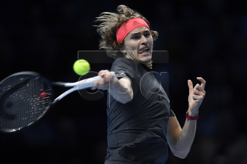 Germany's Alexander Zverev in action against John Isner of the USA during their Round Robin match at the ATP World Tour Finals tennis tournament at the O2 Arena in London, Britain, 16 November 2018. EPA-EFE/WILL OLIVER
