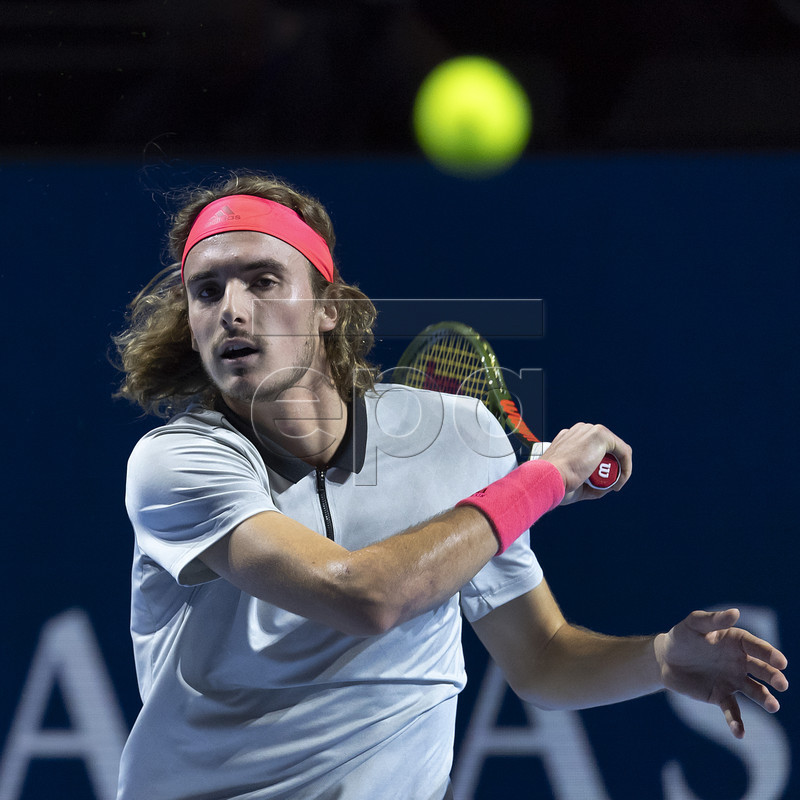 Greece's Stefanos Tsitsipas in action during his first round match against France's Jeremy Chardy at the Swiss Indoors tennis tournament in Basel, Switzerland, October 24, 2018. EPA-EFE/GEORGIOS KEFALAS