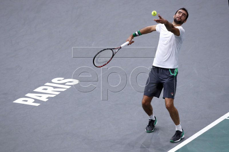 Marin Cilic of Croatia in action during his third round match against Grigor Dimitrov (unseen) of Bulgaria at the Rolex Paris Masters tennis tournament in Paris, France, 01 November 2018. EPA-EFE/CHRISTOPHE PETIT TESSON
