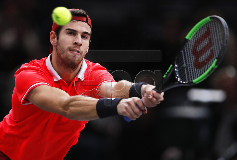 Karen Khachanov of Russia in action against Alexander Zverev of Germany during their quarter final match at the Rolex Paris Masters tennis tournament in Paris, France, 02 November 2018. EPA-EFE/IAN LANGSDON