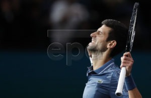 Novak Djokovic of Serbia celebrates winning his quarter final match against Marin Cilic of Croatia at the Rolex Paris Masters tennis tournament in Paris, France, 02 November 2018. EPA-EFE/IAN LANGSDON