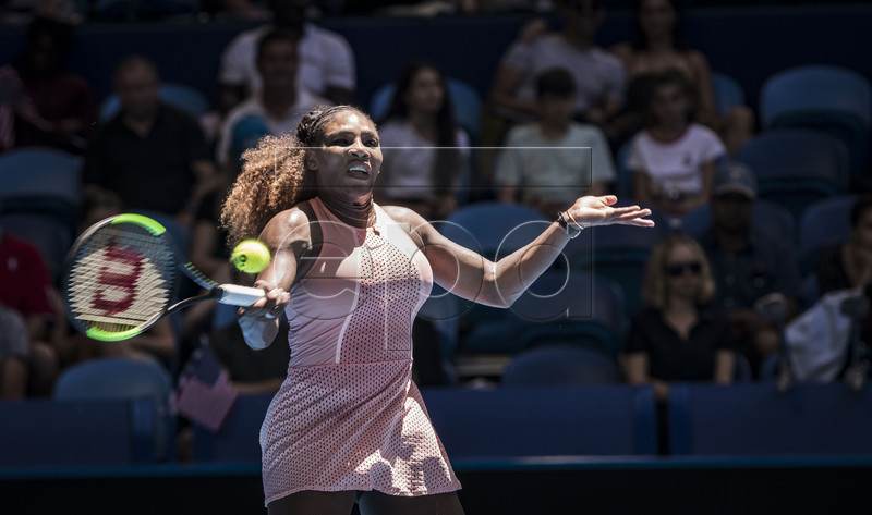 Serena Williams of the USA in action during the women's singles match between USA and Greece on day three of the Hopman Cup tennis tournament at Perth Arena in Perth, Australia, 31 December 2018. EPA-EFE/TONY MCDONOUGH EDITORIAL USE ONLY AUSTRALIA AND NEW ZEALAND OUT