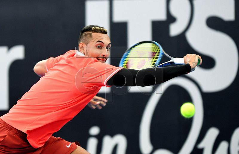 Nick Kyrgios of Australia plays a shot during his second round match against Jeremy Chardy of France at the Brisbane International tennis tournament at the Queensland Tennis Centre in Brisbane, Australia, 02 January 2019. EPA-EFE/DAN PELED EDITORIAL USE ONLY AUSTRALIA AND NEW ZEALAND OUT