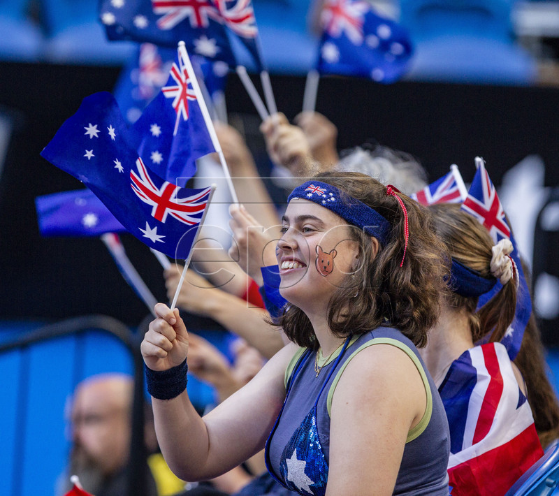 Australian supporters during the women's singles match between Australia and Spain on day 5 of the Hopman Cup tennis tournament at RAC Arena in Perth, Australia, 02 January 2019. EPA-EFE/TONY MCDONOUGH AUSTRALIA AND NEW ZEALAND OUT EDITORIAL USE ONLY