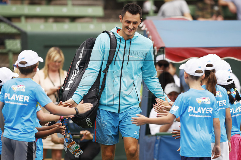 Bernard Tomic of Australia arrives for match one of the Kooyong Classic against Jack Sock of the United States at Kooyong Lawn Tennis Club in Melbourne, Australia, 08 January 2019. EPA-EFE/DANIEL POCKETT