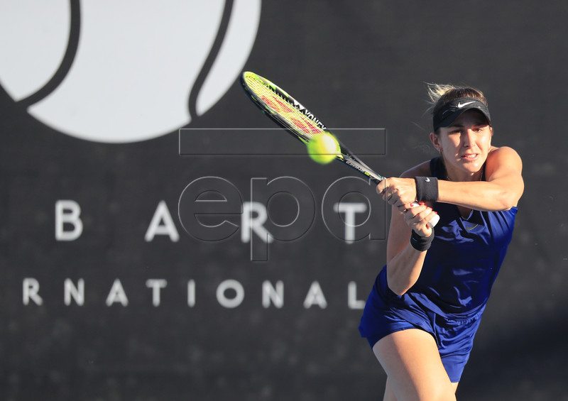 Belinda Bencic of Switzerland in action against Anna Karolina Schmiedlova of Slovakia during the singles semifinals at the Hobart International tennis tournament at Domain Tennis Centre in Hobart, Australia, 11 January 2019. EPA-EFE/ROB BLAKERS EDITORIAL USE ONLY AUSTRALIA AND NEW ZEALAND OUT