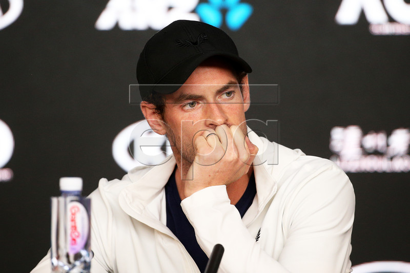 Andy Murray of Britain attends a press conference after losing his first round match against Roberto Bautista Agut of Spain at the Australian Open tennis tournament in Melbourne, Australia, 14 January 2019. EPA-EFE/HAMISH BLAIR AUSTRALIA AND NEW ZEALAND OUT