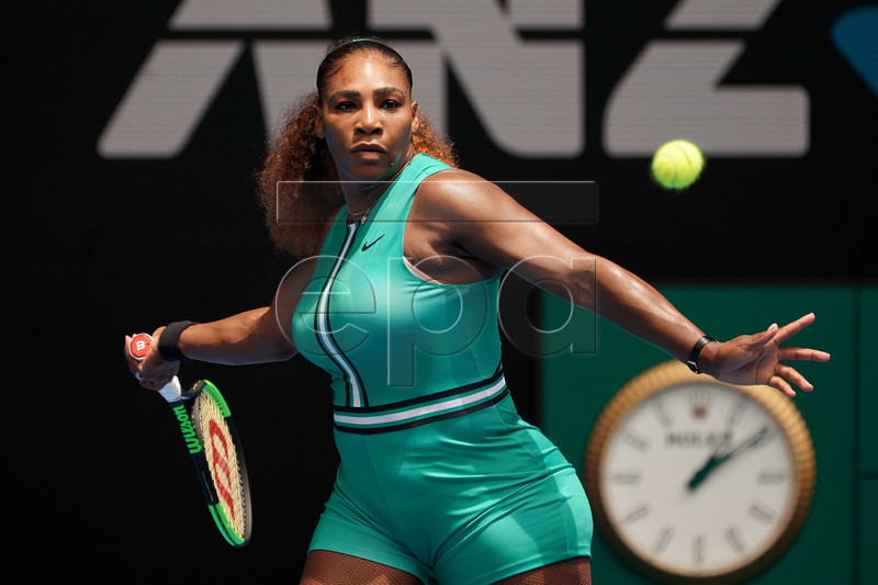 Serena Williams of the United States in action against Tatjana Maria of Germany during their women's singles match on day two of the Australian Open in Melbourne, Australia, 15 January 2019. EPA-EFE/MARK DADSWELL EDITORIAL USE ONLY AUSTRALIA AND NEW ZEALAND OUT