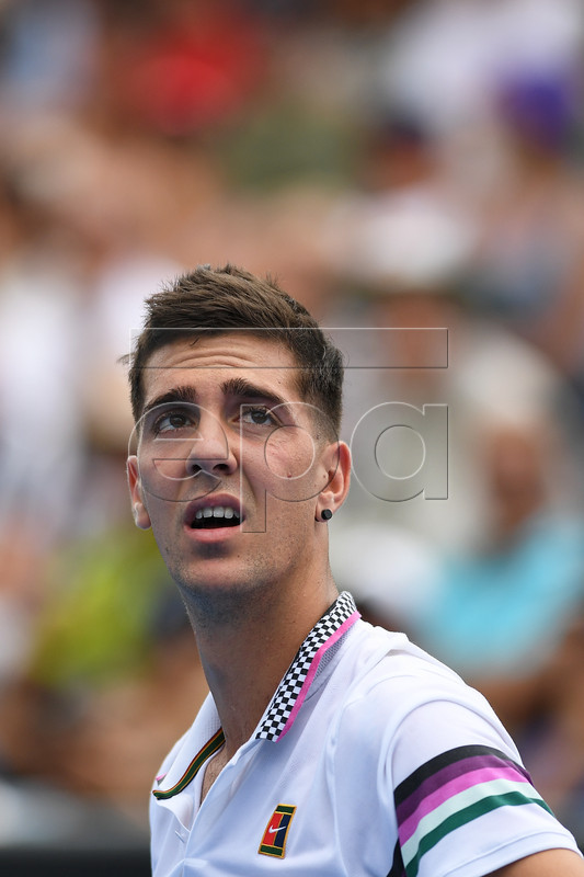 Thanasi Kokkinakis of Australia in action against Taro Daniel of Japan during their first round men's singles match of the Australian Open Grand Slam tennis tournament in Melbourne, Australia, 15 January 2019. EPA-EFE/LUKAS COCH AUSTRALIA AND NEW ZEALAND OUT