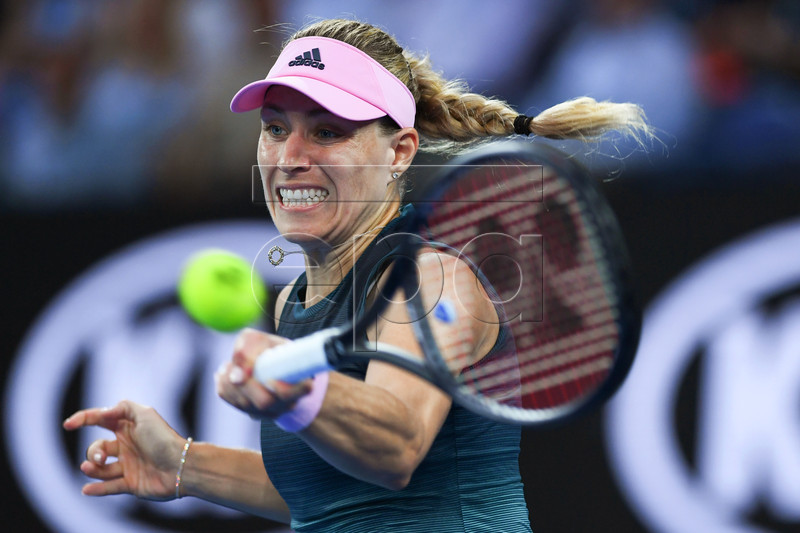 Angelique Kerber of Germany in action against Beatriz Haddad Maia of Brazil during their women's second round match at the Australian Open tennis tournament in Melbourne, Australia, 16 January 2019. EPA-EFE/LUKAS COCH AUSTRALIA AND NEW ZEALAND OUT