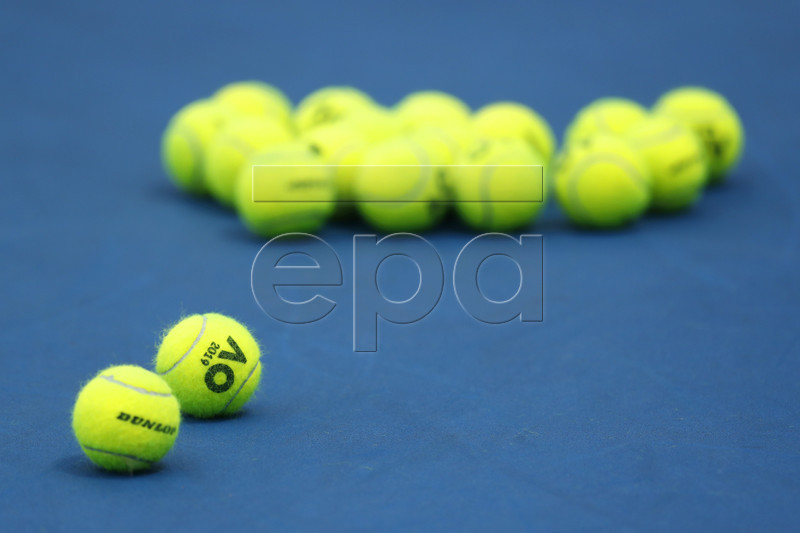 Tennis balls on court on day four of the Australian Open Grand Slam tennis tournament in Melbourne, Australia, 17 January 2019. EPA-EFE/RITCHIE TONGO