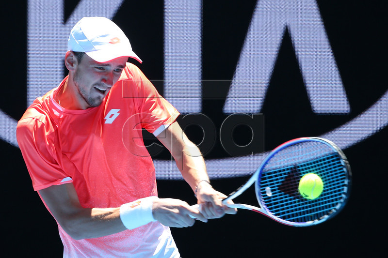 Daniil Medvedev of Russia in action against David Goffin of Belgium during their round three men's singles match at the Australian Open Grand Slam tennis tournament in Melbourne, Australia, 19 January 2019. EPA-EFE/HAMISH BLAIR AUSTRALIA AND NEW ZEALAND OUT