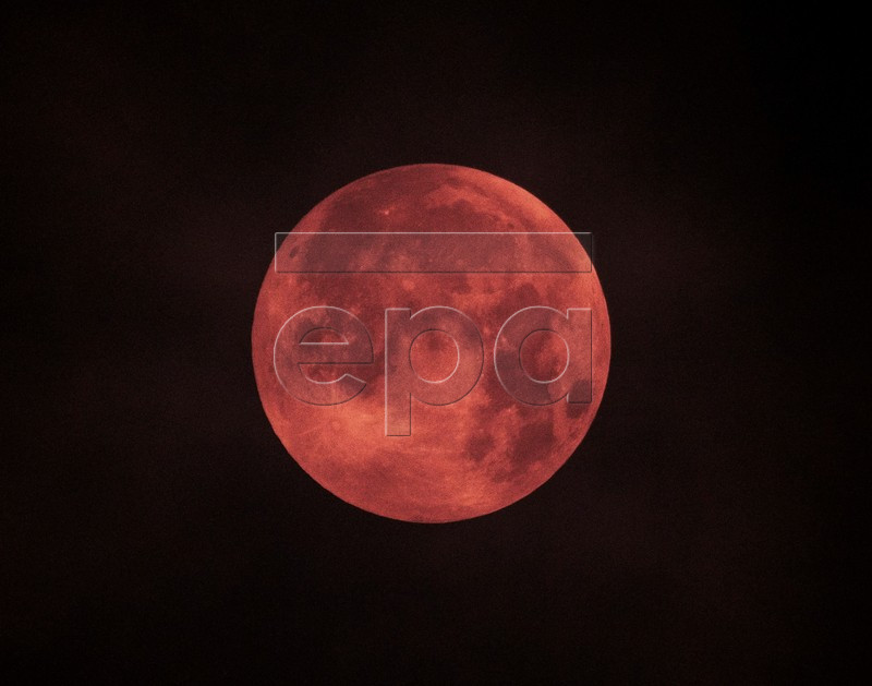 View of the 'super blood moon' seen from Mallorca, Spain, early 21 January 2019. The entire eclipse was visible from North and South America, as well as parts of western Europe and north Africa. The phenomenon was referred to by some as a 'super blood wolf moon' being a combination of a 'blood moon' as, during the eclipse, only the sun rays refracted by the earth atmosphere are reflected from the moon surface and give it a reddish color, a 'supermoon' given the large apparent size of the moon due to its relative proximity to earth and finally a 'wolf moon', the name often given to the full moon in January. EPA-EFE/CATI CLADERA