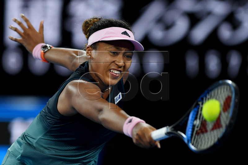 Naomi Osaka of Japan in action against Karolina Pliskova of the Czech Republic during their women's singles semi-final match on day 11 of the Australian Open Grand Slam tennis tournament in Melbourne, Australia, 24 January 2019. EPA-EFE/LUKAS COCH AUSTRALIA AND NEW ZEALAND OUT