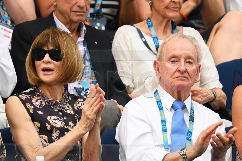 US fashion editor Anna Wintour (L) and and Australian tennis legend Rod Laver (R) attend the men's singles semi final match between Novak Djokovic of Serbia and Lucas Pouille of France at the Australian Open Grand Slam tennis tournament in Melbourne, Australia, 25 January 2019. EPA-EFE/JULIAN SMITH AUSTRALIA AND NEW ZEALAND OUT