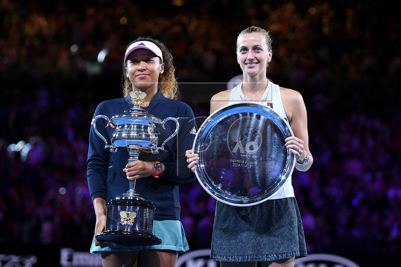 Winner Naomi Osaka of Japan (L) and Petra Kvitova of the Czech Republic pose for a photograph during the presentation of the winners trophies after the women's singles final at the Australian Open Grand Slam tennis tournament in Melbourne, Australia, 26 January 2019. EPA-EFE/LUKAS COCH EDITORIAL USE ONLY AUSTRALIA AND NEW ZEALAND OUT