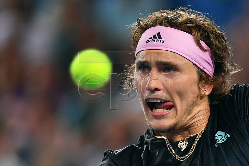 Alexander Zverev of Germany in action against Jeremy Chardy of France during their men's second round match of the Australian Open Grand Slam tennis tournament in Melbourne, Australia, 17 January 2019. EPA-EFE/LUKAS COCH AUSTRALIA AND NEW ZEALAND OUT