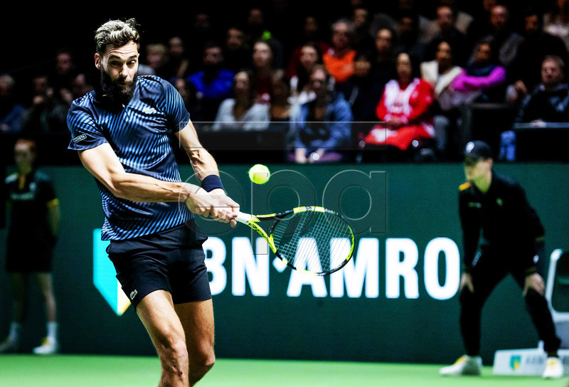 Benoit Paire of France in action against Stan Wawrinka of Switzerland during their first round match at the ABN AMRO World Tennis Tournament in Rotterdam, Netherlands, 11 February 2019. EPA-EFE/ROBIN VAN LONKHUIJSEN