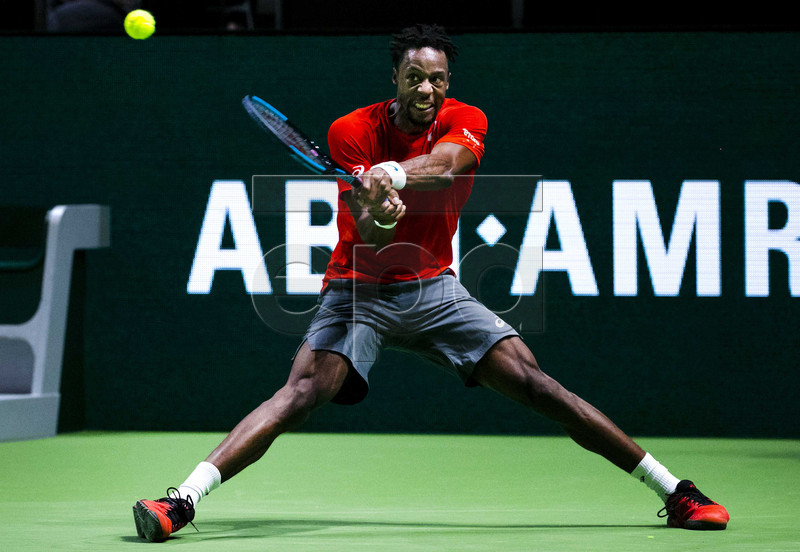Gael Monfils of France in action during his first round match against Belgium's David Goffin at the ABN AMRO World Tennis Tournament in Rotterdam, Netherlands, 12 February 2019. EPA-EFE/REMKO DE WAAL