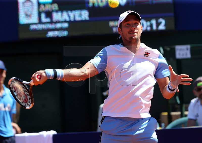 Serbian tennis player Dusan Lajovic in action against Argentine Leonardo Mayer during a match of the first round of the Argentinian Open, the traditional ATP 250 of the austral country, in Buenos Aires, Argentina, 12 February 2019. EPA-EFE/Aitor Pereira