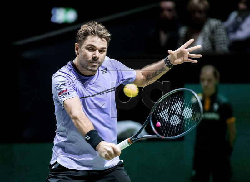 Swiss Stan Wawrinka in action during his match against Canadian Milos Raonic at the ABN AMRO Tennis tournament in Rotterdam, Wednesday 13 February 2019. EPA-EFE/KOEN VAN WEEL