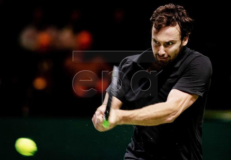 Ernests Gulbis from Latvia in action during the match against Japanese Kei Nishikori from Latvia at the ABN AMRO World Tennis Tournament in Rotterdam, The Netherlands, 14 February 2019. EPA-EFE/ROBIN VAN LONKHUIJSEN