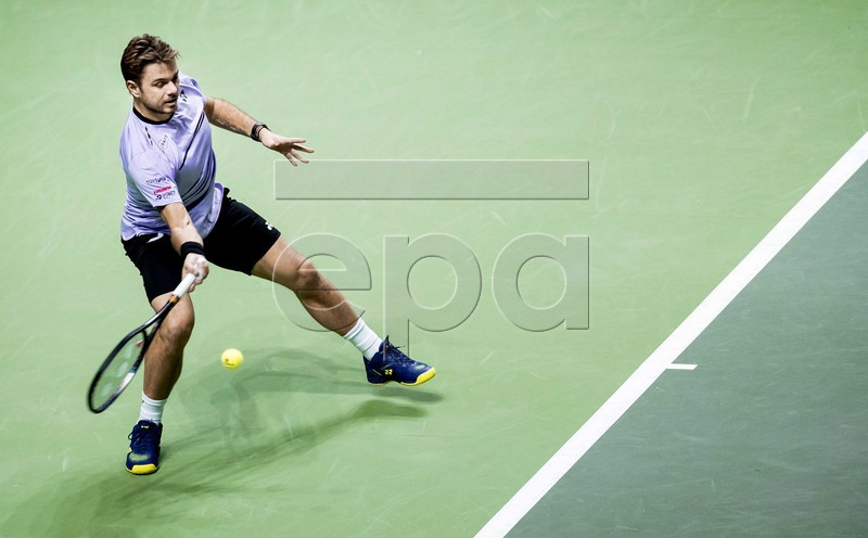 Swiss Stan Wawrinka in action against Denis Shapovalov of Serbia during their match at the ABN AMRO World Tennis Tournament in Rotterdam, The Netherlands, 15 February 2019. EPA-EFE/KOEN VAN WEEL