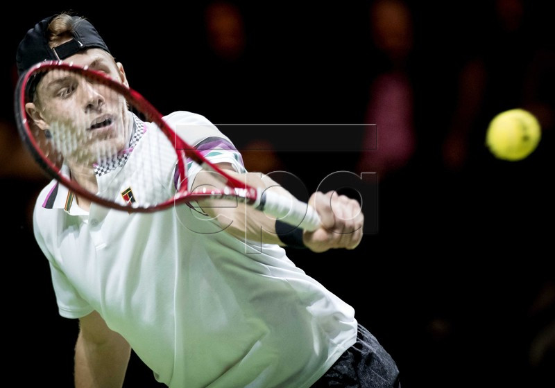 Denis Shapovalov of Serbia in action against Swiss Stan Wawrinka during their match at the ABN AMRO World Tennis Tournament in Rotterdam, The Netherlands, 15 February 2019. EPA-EFE/KOEN VAN WEEL