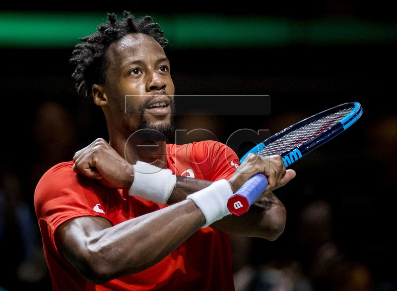 Gael Monfils (FRANCE) reacts after winning the semi-final against Daniil Medvedev (RUSSIA) at the ABN AMRO World Tennis Tournament in Rotterdam, The Netherlands, 16 February 2019. EPA-EFE/KOEN VAN WEEL