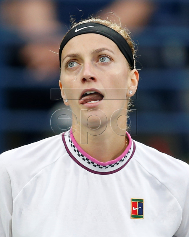 Petra Kvitova of the Czech Republic reacts during her semi final match against Su-Wei Hsieh of Taiwan at Dubai Duty Free Tennis WTA Championships 2019 in Dubai, United Arab Emirates, 22 February 2019. EPA-EFE/ALI HAIDER