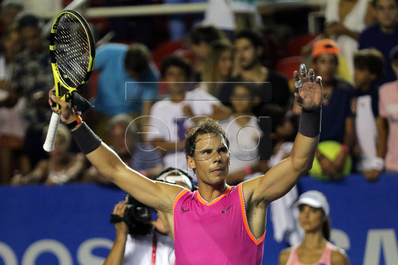 Rafael Nadal of Spain celebrates after defeating Mischa Zverev of Germany during the Mexican Open tennis tournament in Acapulco, Guerrero state, Mexico, 26 February 2019. EPA-EFE/DAVID GUZMAN