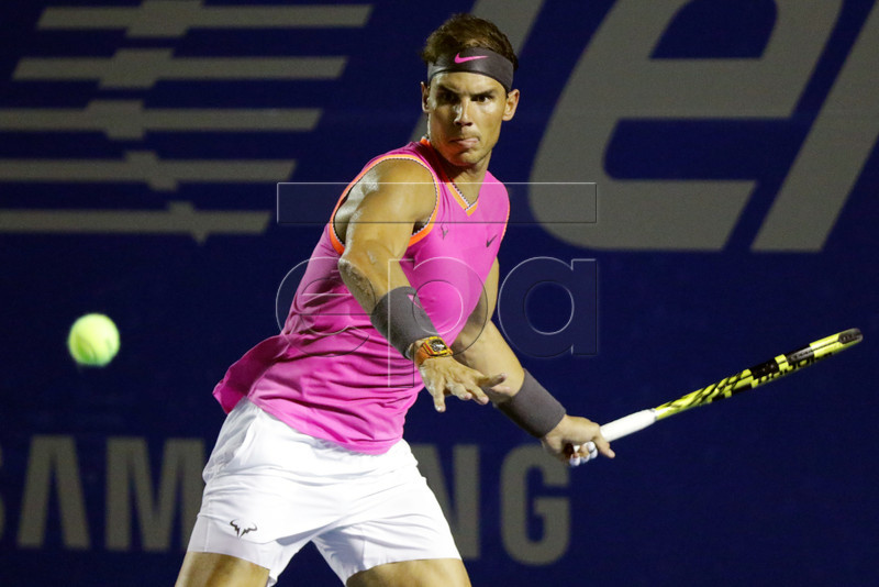 Rafael Nadal of Spain in action against Nick Kyrgios of Australia during a round of 16 match of the Mexican Tennis Open held at Acapulco, Mexico, 27 February 2019. EPA-EFE/DAVID GUZMAN