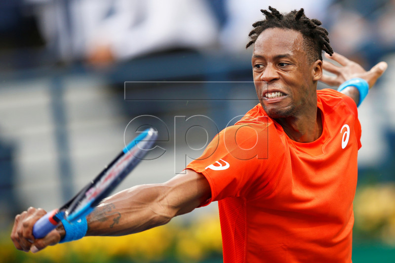 Gael Monfils of France in action against Ricardas Berankis of Lithuania during their quarter final match at the Dubai Duty Free Tennis ATP Championships 2019 in Dubai, United Arab Emirates, 28 February 2019. EPA-EFE/ALI HAIDER