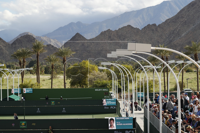 The mountain backdrop from the practice courts during the BNP Paribas Open tennis tournament at the Indian Wells Tennis Garden in Indian Wells, California, USA, 05 March 2019. The men's and women's final will be played on 17 March 2019. EPA-EFE/JOHN G. MABANGLO