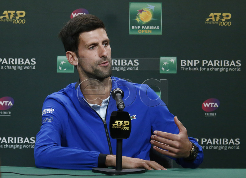 Novak Djokovic of Serbia speaks during a press conference at the Indian Well Tennis Garden in Indian Wells, California, USA, 07 March 2019. The men's and women's final will be played on 17 March 2019. EPA-EFE/LARRY W. SMITH