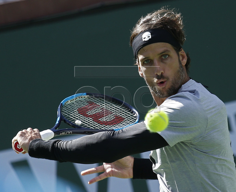 Feliciano Lopez of Spain in action against Tomas Berdych of Czech Republic during the BNP Paribas Open tennis tournament at the Indian Wells Tennis Garden in Indian Wells, California, USA, 08 March 2019. The men's and women's final will be played on 17 March 2019. EPA-EFE/LARRY W. SMITH