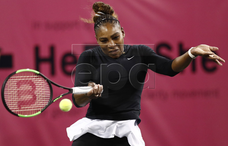 Serena Williams of United States in action against Victoria Azarenka of Belarus during the BNP Paribas Open tennis tournament at the Indian Wells Tennis Garden in Indian Wells, California, USA, 08 March 2019. The men's and women's final will be played on 17 March 2019. EPA-EFE/LARRY W. SMITH