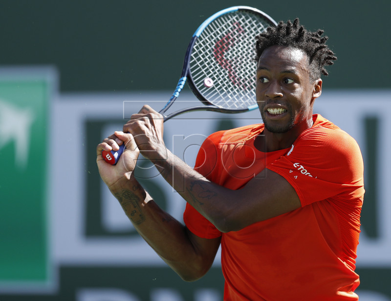 Gael Monfils of France in action against Leonardo Mayer of Argentina during the BNP Paribas Open tennis tournament at the Indian Wells Tennis Garden in Indian Wells, California, USA, 09 March 2019. The men's and women's final will be played, 17 March 2019. EPA-EFE/JOHN G. MABANGLO