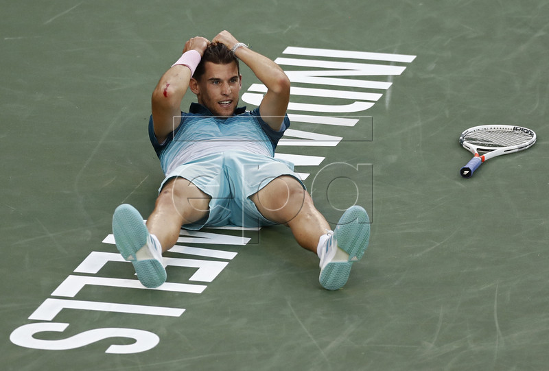 Dominic Thiem of Austria reacts after beating Roger Federer of Switzerland during the Finals at the BNP Paribas Open tennis tournament at the Indian Wells Tennis Garden in Indian Wells, California, USA, 17 March 2019. EPA-EFE/LARRY W. SMITH