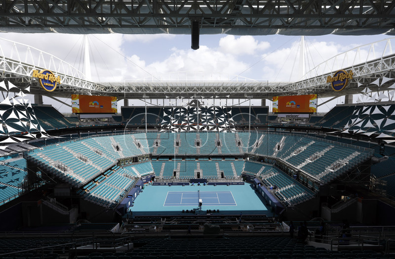 A general view of Hard Rock Stadium at the Miami Open tennis tournament in Miami, Florida, USA, 28 March 2019. Hard Rock Stadium is also the home of the NFL (National Football League) Miami Dolphins. EPA-EFE/JASON SZENES