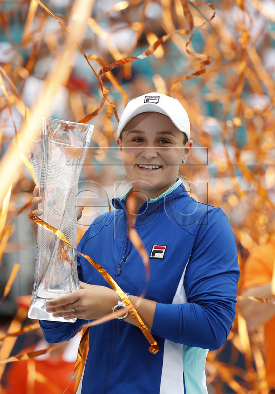 Ashleigh Barty of Australia holds her trophy after defeating Karolina Pliskova of The Czech Republic following their women's finals match at the Miami Open tennis tournament in Miami, Florida, USA, 30 March 2019. EPA-EFE/RHONA WISE