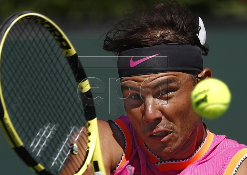 Rafael Nadal of Spain in action against Karen Khachanov of Russia during the BNP Paribas Open tennis tournament at the Indian Wells Tennis Garden in Indian Wells, California, USA, 15 March 2019. The men's and women's final will be played, 17 March 2019. EPA-EFE/LARRY W. SMITH