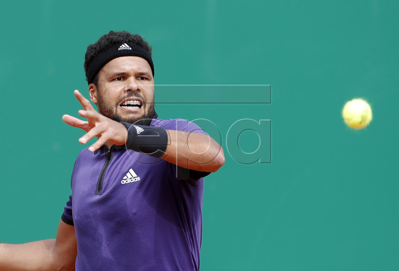 Jo-Wilfried Tsonga of France in action during his first round match against Taylor Fritz of US at the Monte-Carlo Rolex Masters tournament in Roquebrune Cap Martin, France, 16 April 2019. EPA-EFE/SEBASTIEN NOGIER