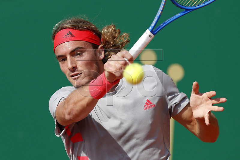 Stefanos Tsitsipas of Greece in action during his secound round match against Mikhail Kukushkin of Kazakhstan at the Monte-Carlo Rolex Masters tournament in Roquebrune Cap Martin, France, 17 April 2019. EPA-EFE/SEBASTIEN NOGIER